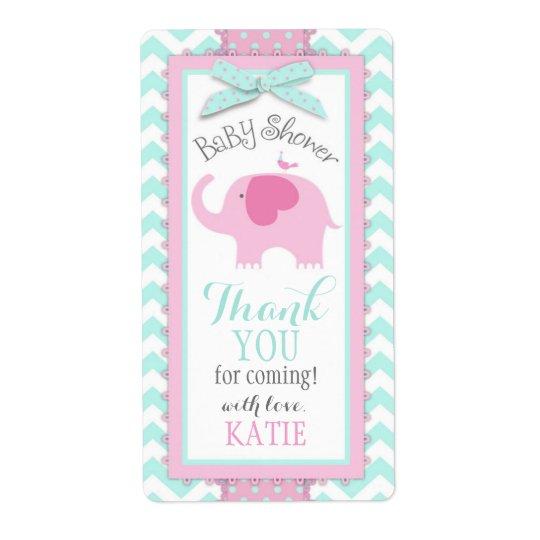 Pink Elephant Bird Chevron Girl Gift Label