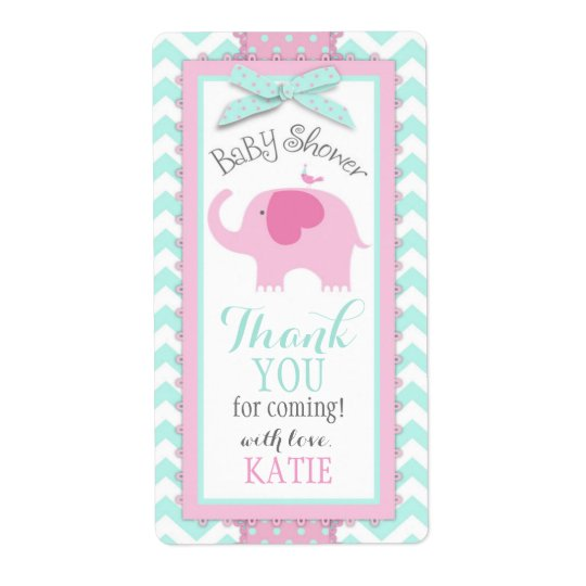 Pink Elephant Bird Chevron Girl Gift Label Shipping Label
