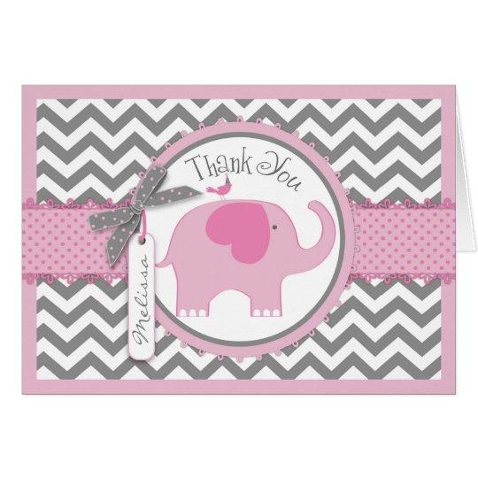 Pink Elephant Bird Chevron Print Thank You Card