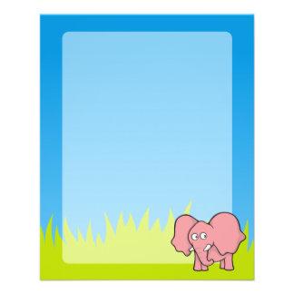 Pink elephant cartoon 11.5 cm x 14 cm flyer