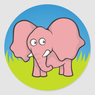 Pink elephant cartoon round sticker