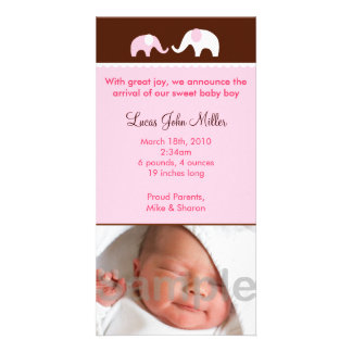 Pink Elephant Custom Photo Birth Announcements Card
