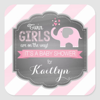 Pink Elephant Diagonal Stripe Baby Shower Square Sticker