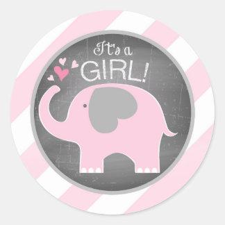 Pink Elephant Diagonal Stripe Girl Baby Shower Round Sticker