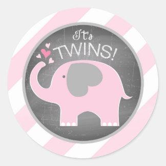 Pink Elephant Diagonal Stripe Twins Baby Shower Round Sticker