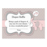 Pink Elephant Diaper Raffle Ticket Pack Of Chubby Business Cards