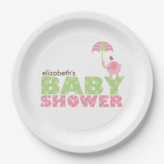 Pink Elephant Girl Baby Shower 9 Inch Paper Plate