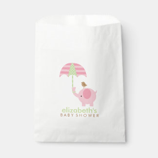 Pink Elephant Girl Baby Shower Favour Bags