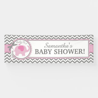 Pink Elephant Girl Chevron Baby Shower Banner
