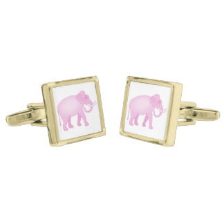 Pink Elephant Gold Finish Cuff Links