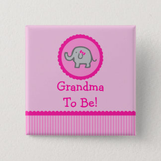 "Pink Elephant ""Grandma To Be"" Baby Shower Button"