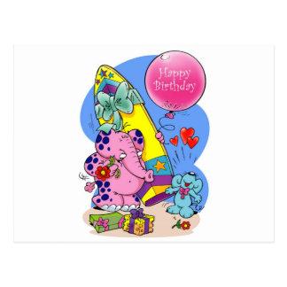 Pink Elephant - Happy Birthday my friend Post Card