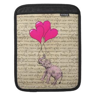Pink elephant holding balloons iPad sleeve