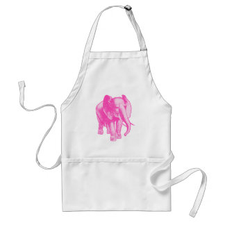 Pink Elephant Illustration Adult Apron