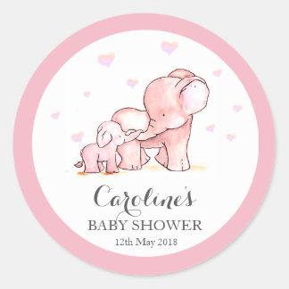 Pink Elephant Love Blue Baby Shower Sticker Round Sticker