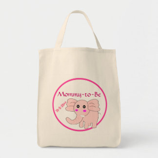 Pink Elephant Mommy-to-Be Baby Shower Grocery Tote Bag