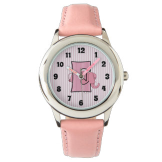 "Pink Elephant Monogrammed ""E"" Girls Watch"