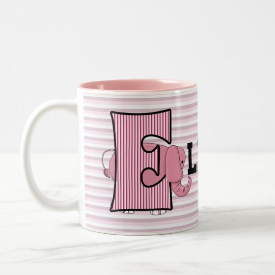 "Pink Elephant Monogrammed ""E"" Kid's Mug"