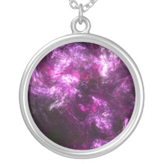 Pink Elephant Nebula Silver Plated Necklace