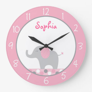 Pink Elephant Nursery Large Clock