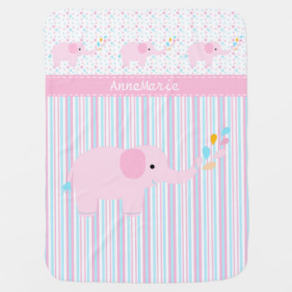 Pink Elephant on Dots and Stripes Baby Blanket