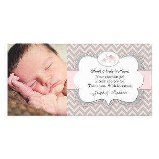 Pink Elephant Photo Baby Thank You Card Custom Photo Card