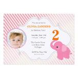 Pink Elephant Photo Birthday Invitation
