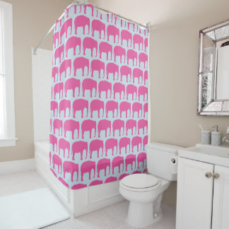 Pink Elephant Silhouettes Pattern Shower Curtain