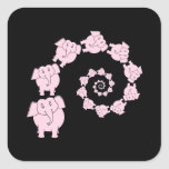 Pink elephant spiral. square sticker