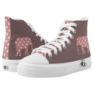 Pink Elephant Stars Beautiful Trendy Chic Purple High Tops