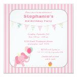 Pink elephant stripes birthday party invitation