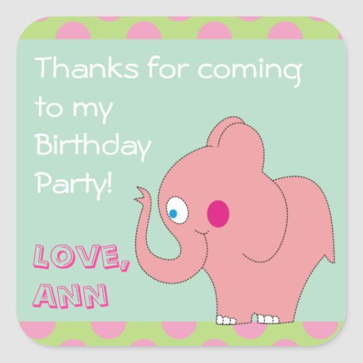 Pink Elephant Thank You Birthday Party Stickers