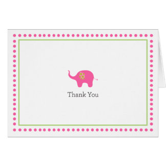 Pink Elephant Thank You Card