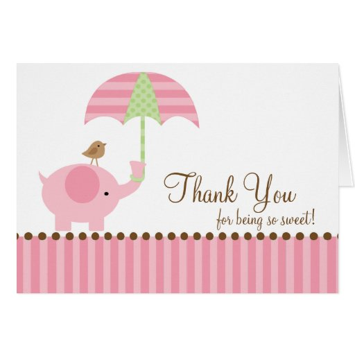 Pink Elephant Thank You Note Card