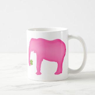 Pink Elephant with a Clover Coffee Mug