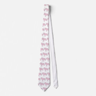 Pink Elephant with Glasses. Cartoon Tie