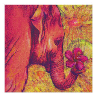 pink elephant with hibiscus posters