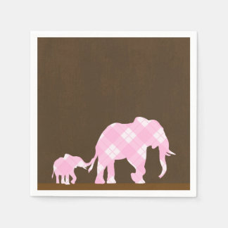 Pink Elephants Brown Trendy Modern Baby Shower Disposable Serviettes
