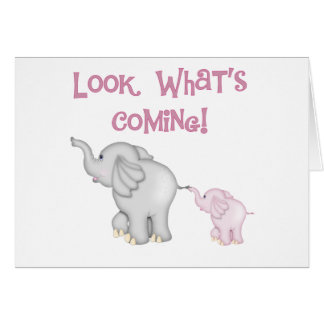 Pink Elephants Look What's Coming Card