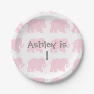 Pink elephants paper plate
