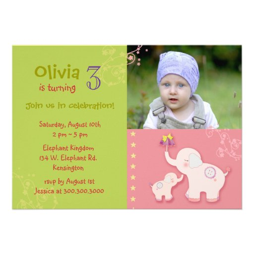 Pink Elephants Photo Birthday Party Invitations