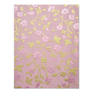 Pink Embroidered Flowers 11 Cm X 14 Cm Invitation Card