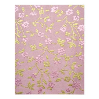 Pink Embroidered Flowers Custom Invitation