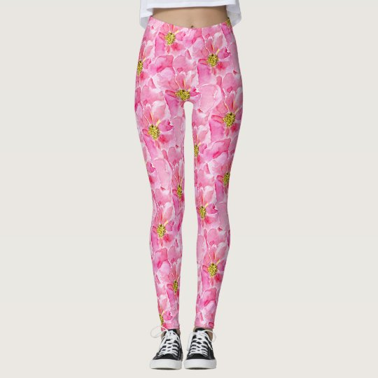 Pink English Roses Leggings