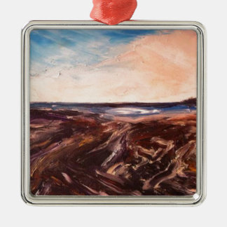 Pink English Seaside Northumbrian Sunset Oil Paint Silver-Colored Square Decoration