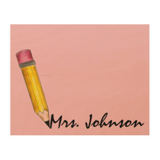 Pink Eraser #2 Pencil Personalized School Teacher Wood Wall Art