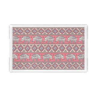 Pink Ethnic Elephant Pattern Acrylic Tray