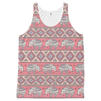 Pink Ethnic Elephant Pattern All-Over Print Tank Top