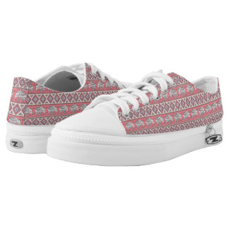 Pink Ethnic Elephant Pattern Low Tops