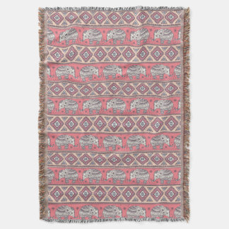 Pink Ethnic Elephant Pattern Throw Blanket